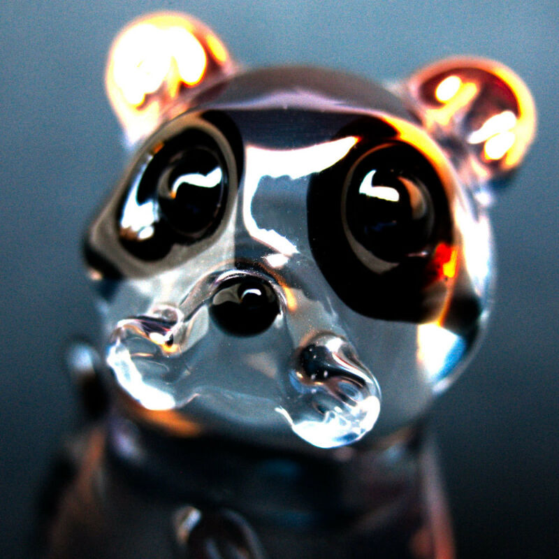 Raccoon Figurine Collectible Sculpture Hand Blown Glass