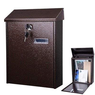 Steel Locking Mailbox Mail Box Wall Mount Newspaper Letterbox w/ Door & 2 - Steel Wall Mount Mailbox