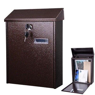 12  New Lockable Mail Box Vertical Wall Mount Steel Letterbox W  Door   2 Keys