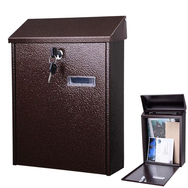 Steel Locking Mailbox Mail Box Wall Mount Newspaper Letterbox w/ Door & 2 Keys