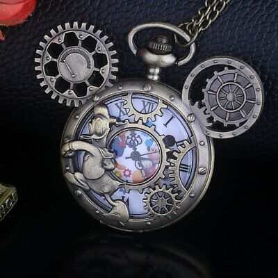 Unusual Mickey Mouse // Donald Duck Steampunk Gears Quartz Necklace Watch