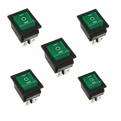 5pcs Green Rocker Switch Onoffon 3 Position 6pins With Lamp Ac 250v16a