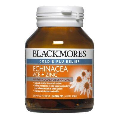 BLACKMORES ECHINACEA ACE + ZINC 60 TABLETS COLD & FLU SYMPTOMS RELIEF IMMUNITY