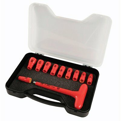 Wiha 31395 T-Handle Socket Set, Insulated 1/4-Inch, Metric, 11 Piece ()