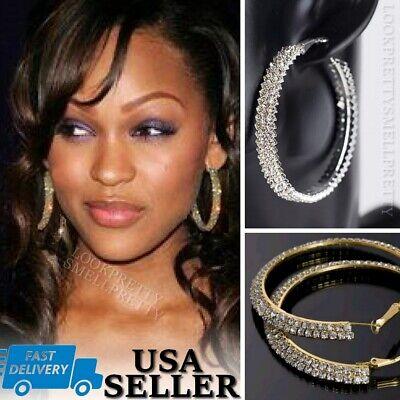 "2.5"" LUXURY Double Wide Rhinestone Crystal Hoop Earrings Gold Silver Dangle Big"