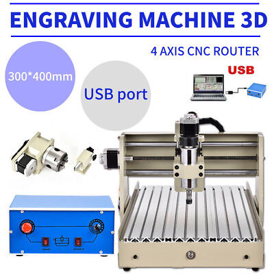 Usb-3d 4axis 400w 3040 Cnc Router Engraver Ballscrew Engraving Milling Machine