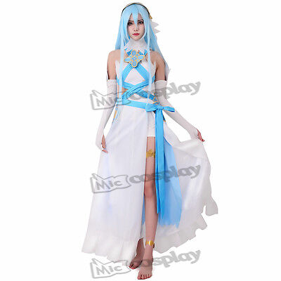 Fire Emblem Fates Birthright Singer White Azura Cosplay Costume Headwear+Sticker