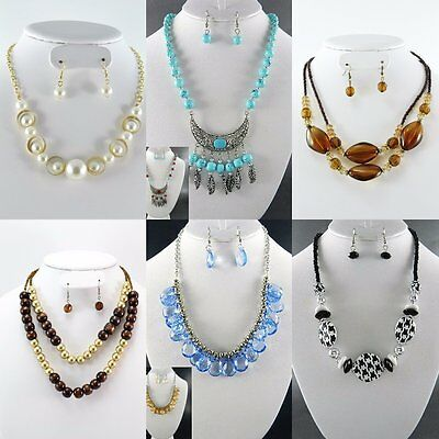 100 PC (50 Sets} WHOLESALE LOT COSTUME FASHION JEWELRY NECKLACE EARRINGS SET NEW