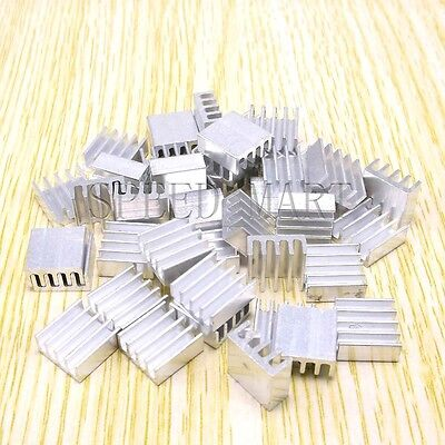 100pcs Aluminum Cooling Fin Heat Sink For Led Memory Chip Ic Pcb 14mm14mm6mm