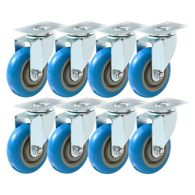 8 Pack 4 Inch Caster Wheels Swivel Plate On Blue Polyurethane Wheels Pu