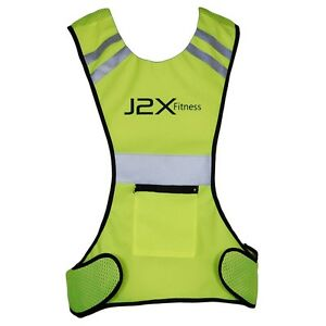 J2X Fitness Pro High Visibility Reflective Running Cycling Vest Top Hi Viz