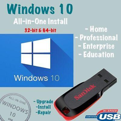 Windows 10 Usb All Versions 32 64Bit Restore Repair Install Upgrade W Hd