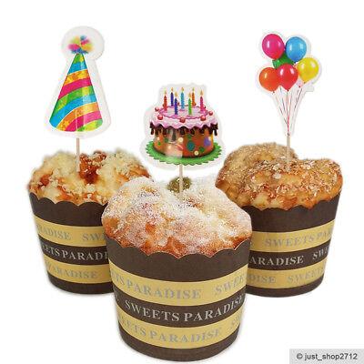 18 Party Toppers Topper Cupcake Kinder Geburtstag Ballon Hut Kuchen Dekoration