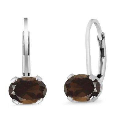 1.50 Ct Oval Brown Smoky Quartz 925 Sterling Silver Leverback Earrings