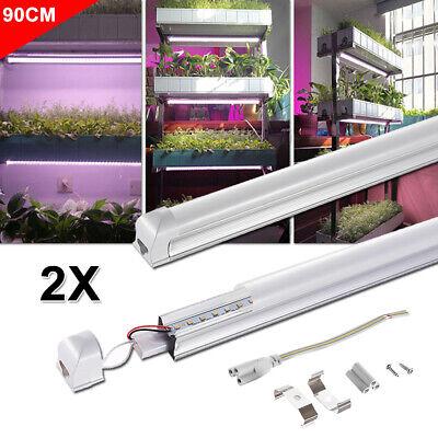 2X 15W 90cm T8 Röhre LED Pflanzenlampe Pflanzenlicht Wachstumslampe VollSpektrum
