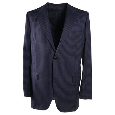 $3895 SARTORIA PARTENOPEA Navy-Gray Stripe Lightweight Wool Suit 42 R (Eu (Lightweight Three Button Suit)