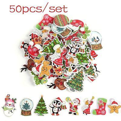 50Pcs Decor Scrapbooking 2 Holes Wooden Christmas Buttons Santa Claus Deer - Christmas Buttons
