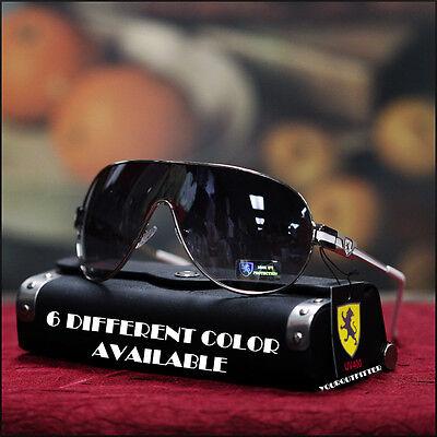 New Mens Khan Shield Sunglasses Sports Biker Rock   Roll Mma Metal Black Shades