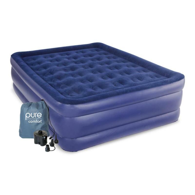 Queen Size Raised Air Mattress Pure Comfort Waterproof Campi