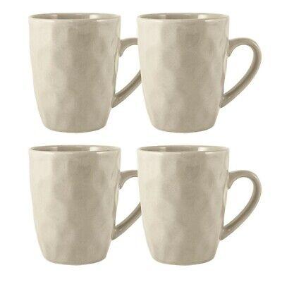 Maison Home Calico Set Of 4 Mugs Stoneware Hammer Effect Coffee Tea In Cream