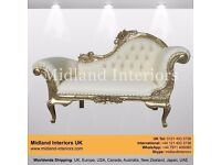 NEW Marseille Chaise Longue French Sofa - Gold & Ivory - Luxury Asian French Italian Antique Gothic