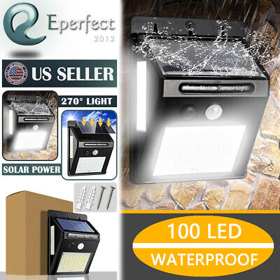 100 LED Outdoor Solar Lamp Motion Sensor Wall Light Waterproof Garden Yard Lamp 100 Outdoor Garden
