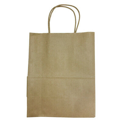 10 Pc 8 Cub Gift Bags With Handles Illusion Stripes Printed Kraft Paper