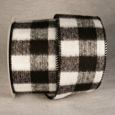 Christmas Wired Ribbon (Black White Buffalo Plaid Ribbon 5 Yards Christmas 2.5
