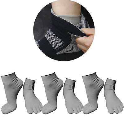 3 Pairs Lot womens Gray Performance Lightweight Mini-Crew Cotton Toe Socks Liner
