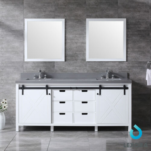 "Lexora Marsyas 80"" Double Vanity In White, Grey Quartz Top And Mirrors"