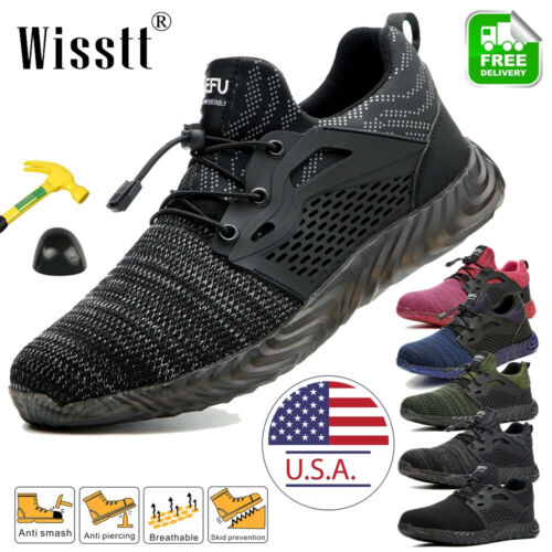 Woman's Work Boots Steel Toe Safety Shoes Reflective Lightwe