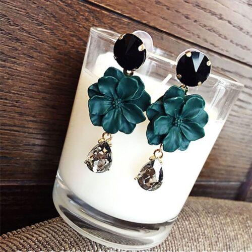 1 Pair Acrylic Leaf Drop Earring Charm Dangles Women Jewelry Gift Black Green