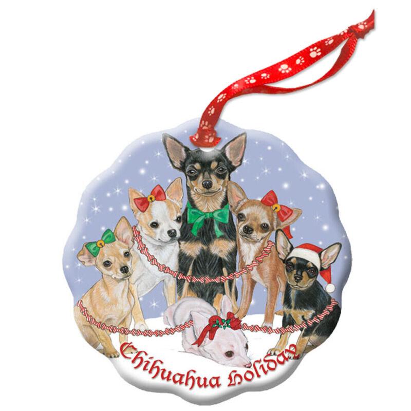 Chihuahua Holiday Porcelain Christmas Tree Ornament