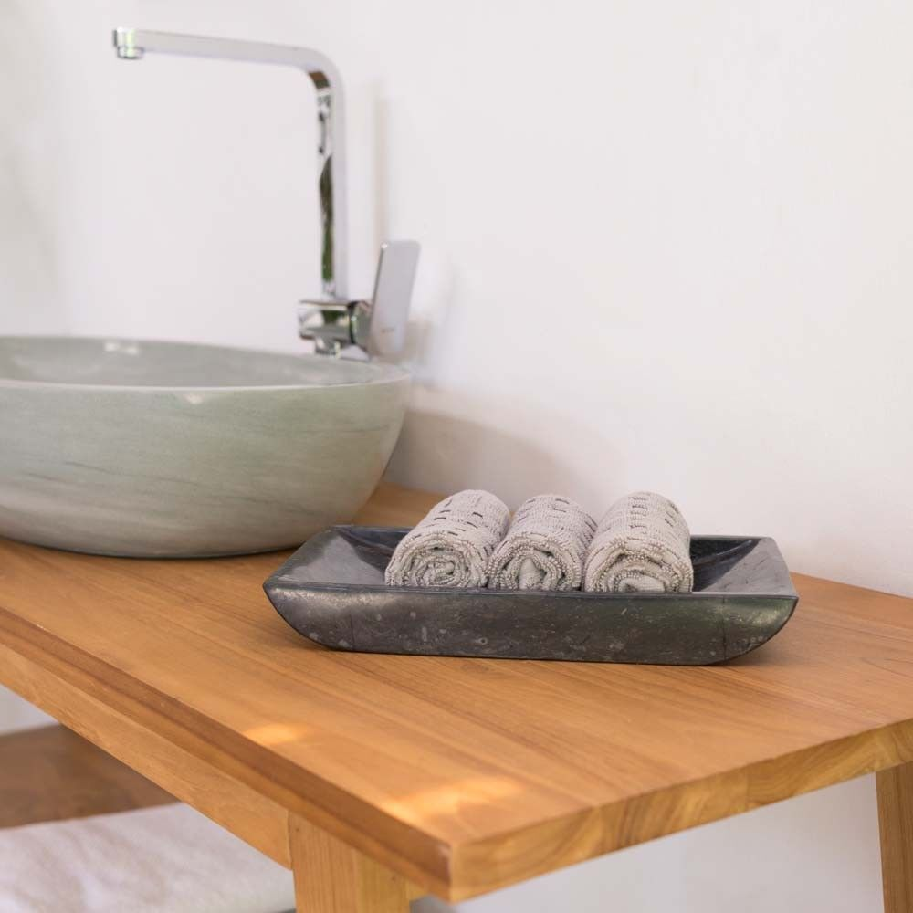 wohnfreuden Marmor Schale 30x18 Aufbewahrung poliert schwarz Handtuch-Ablage