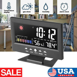 Desk Digital USB Alarm Clock Home Weather Thermometer LED Temperature Humidity