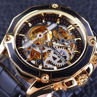 Watch Men Transparent Case Gear Steampunk Automatic Design Gold Stainless Steel