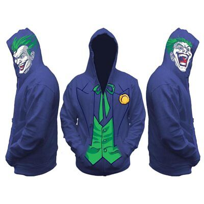 Joker Purple Hoodie Batman Jokers Halloween costume zipup Sweatshirt Adult Small