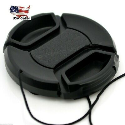 55mm Lens Cap center pinch snap on Front Cover string for Canon Nikon Sony