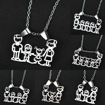 Stainless Steel Parent Boys Girls Children Mom Dad Pendant Family Chain Necklace