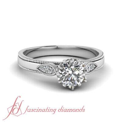 1/2 Carat Round Cut FLAWLESS Diamond Milgrain Engagement Ring GIA Certified 1