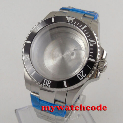 steel 40mm black ceramic bezel sapphire glass Watch Case fit NH35 NH36 2824 8215