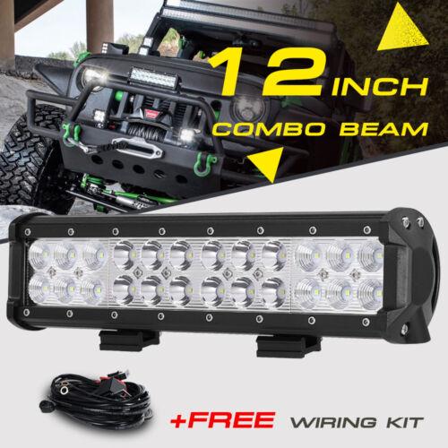 Led - 12inch 72W LED Light Bar Work SPOT FLOOD Combo Beam CREE 4WD CAR ATV+ Wiring Kit
