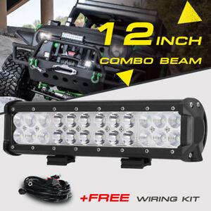 12inch 72W LED Light Bar Work SPOT FLOOD Combo Beam CREE 4WD CAR ATV+ Wiring Kit