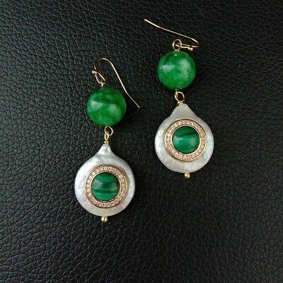 Coin Pearl Green Jade CZ Pave Malachite Hook - Pearl Malachite
