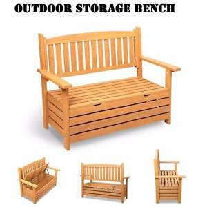 Functional Wooden Outdoor 2 Seater Storage Garden Bench Spearwood Cockburn Area Preview