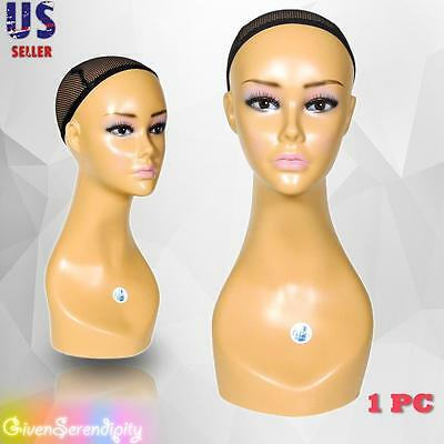 Realistic Plastic Female Mannequin Head Lifesize Display Wig Hat 18 B1