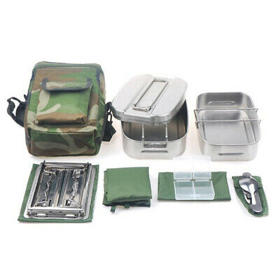 Military Cookware Set Stainless Camping Canteen Mess Kit w/Lid Stove Spoon Fork
