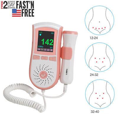 Lcd Prenatal Fetal Doppler Baby Heart Beat Monitor Pregnancy 3mhz Probe Dual Usa