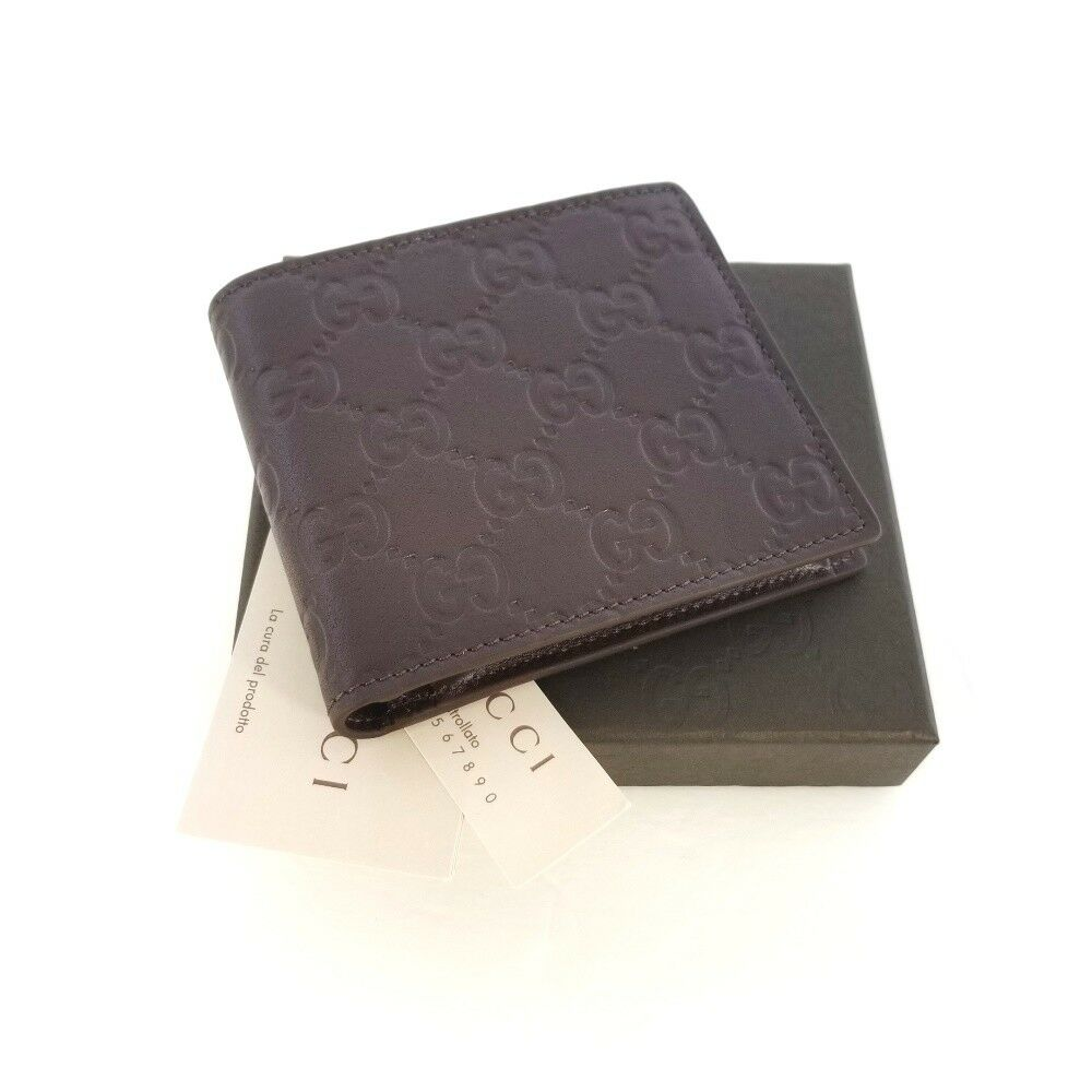 7ab09bb69afb91 New Gucci Authentic Mens Brown Bi fold Guccissima Wallet w Coin Pocket wBox  | EBG