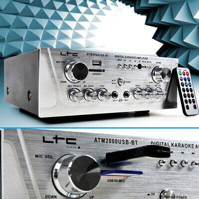 Estéreo Amplificador Música Karaoke Hi-Fi 100W USB MP3 SD Bluetooth Cine en...